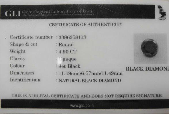 Natural Black Diamond, 4.90 CT