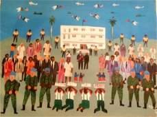 "Haitian Painting 'Papa Doc Rally"",  M.Jn.Louis"