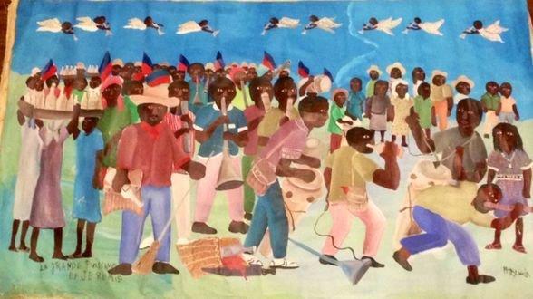 Haitian Voodoo Ceremonial painting, M.Jn.Louis