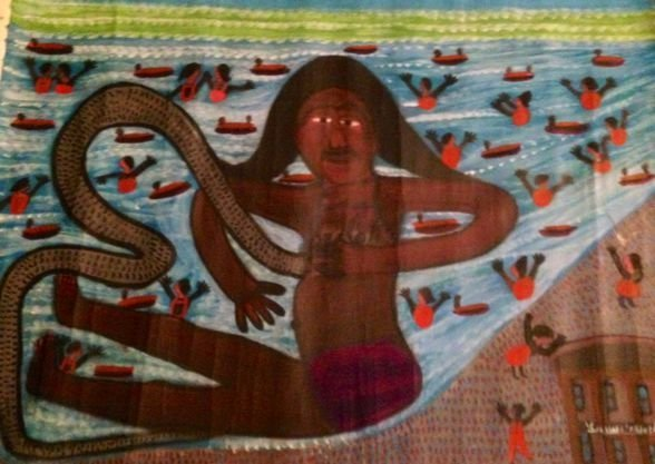 Haitian Voodoo Marine Spirit Painting, Signed