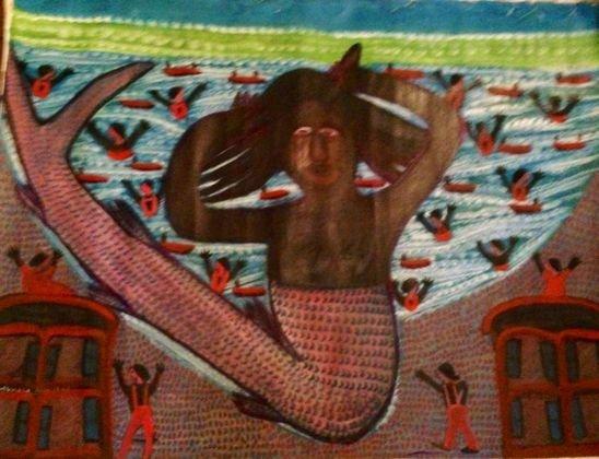 Haitian Voodoo Painting Signed c 1970