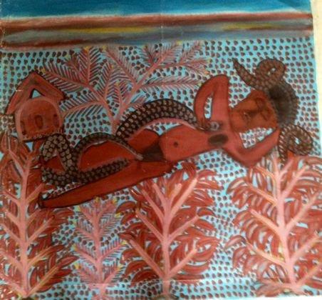 Haitian Voodoo Spirit Snake Painting, Signed c 1970