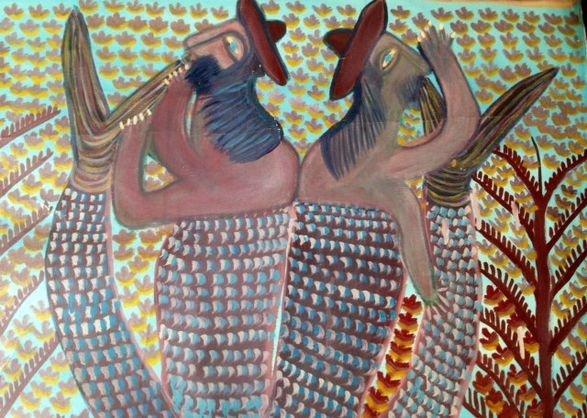 Haitian Voodoo Deities Painting Signed c 1970