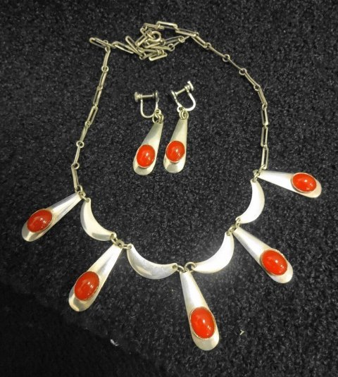Israel Sterling Necklace &  Earrings, Signed