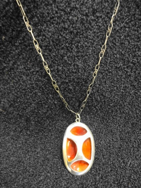 Mexico Sterling & Enamel Modern Necklace, Signed.