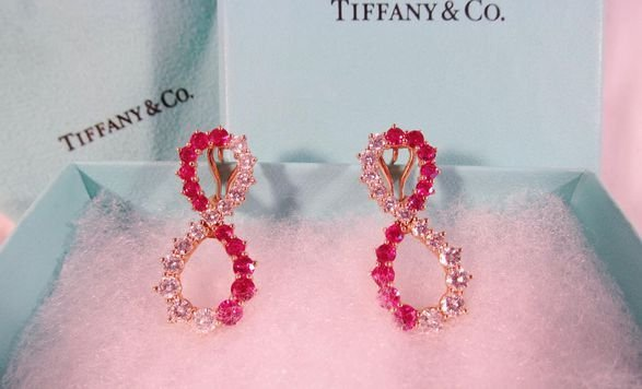 Tiffany & Co. 18kt Gold, Ruby and Diamond Earrings