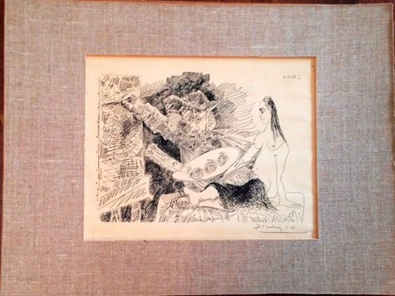 Picasso Lithograph, Pencil Signed, Artist and His Model