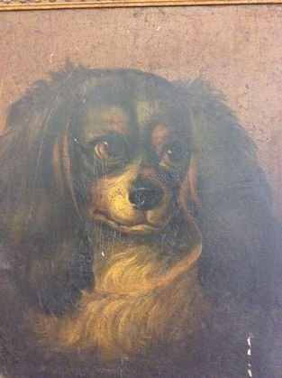 Dog Painting, King Charles, 19th Century