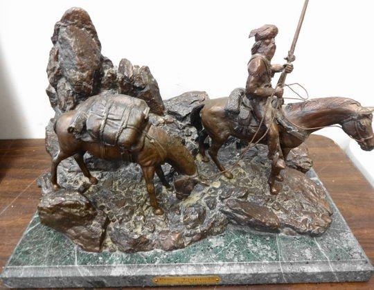 Bronze Western Sculpture, Free Trappers, Davies