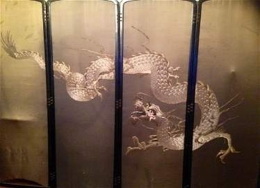 Japanese Silk Floating Dragon Floor Screen, Meji Period