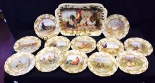 Limoges Game Set, 19th C., Roosters & Hens, 13 Pc