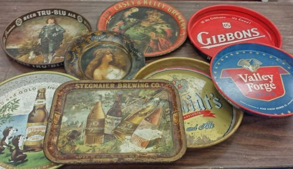 Breweriana, Beer Trays incl. Pa. Breweries (8)