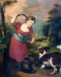 American Painting, Dog and Girl with Hula Hoop, 19thc