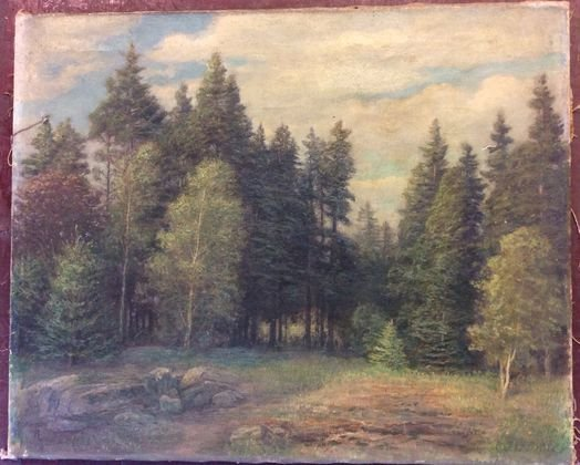 American New England Landscape Painting Signed F. Engel
