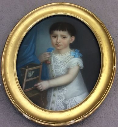 """French Painting, """"Child with Bird"""", 19th Century"""