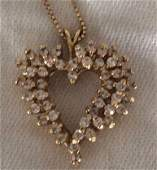 14k gold  Diamond Heart Pendant with Chain