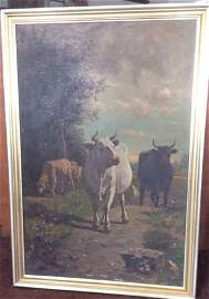 C. T. Troyon, 19th C. French Oil Painting, Cows & Sheep