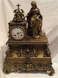 French Dore Bronze Figural Mantle Clock
