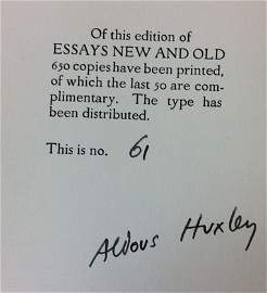 "Aldous Huxley Signed Edition Book  ""Essays New And Old"""