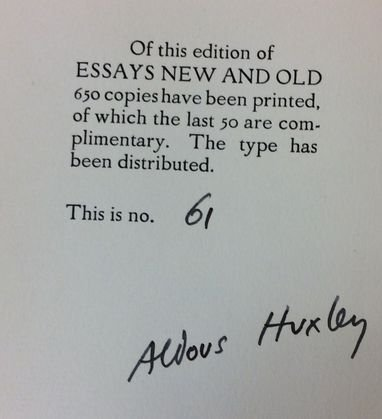 """Aldous Huxley Signed Edition Book  """"Essays New And Old"""""""