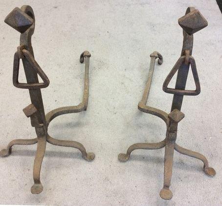Goose Neck Wrought Iron Andirons, Circa 1800's