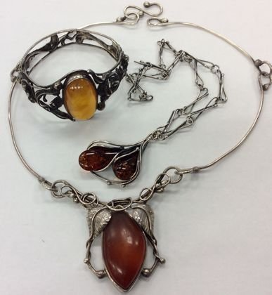 Silver & Amber Jewelry Lot, 3 Pieces