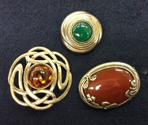 Sterling & Assorted Stone Pins, (3)