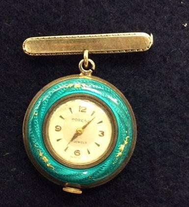 Poresa 800 Silver & Enamel Watch/Pin,
