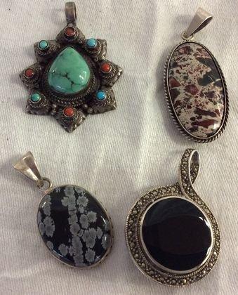 Selection of Silver & Stone Pendants (4)
