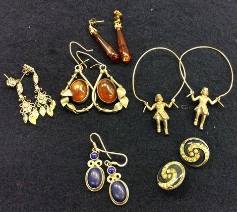 Vintage Earrings, (6) Including Sterling