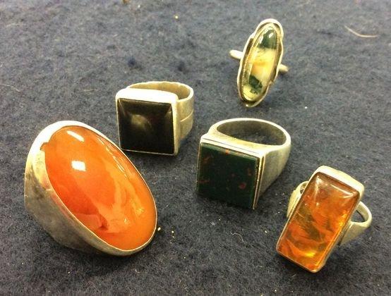 Vintage Sterling & Stones Rings