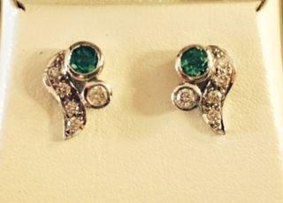 14K Gold, Emerald & Diamond Stud Earrings