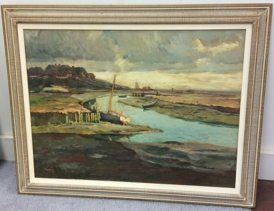 German Coastal Bay Painting, Signed Plutta, 1948