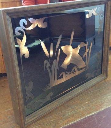 Ducks & Cattails Custom Etched Window, Framed
