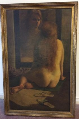 American Nude Study Painting, Girl in Mirror.
