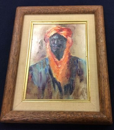 Middle Eastern Painting, Man in Turban, Signed