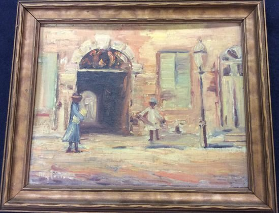 Middle Eastern Painting. Street Scene, Signed