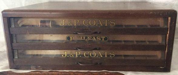 J & P Coats Spool Sewing Wood Cabinet
