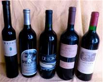 (5) Bottles of Assorted Vintage Wine
