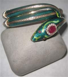 143: Enamel, ruby and Diamond Serpent Bracelet