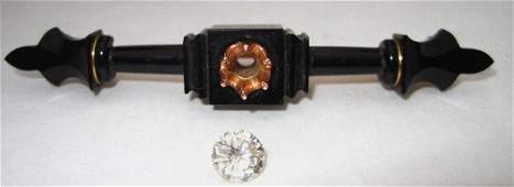 198: Antique Diamond and Jet Mourning Brooch
