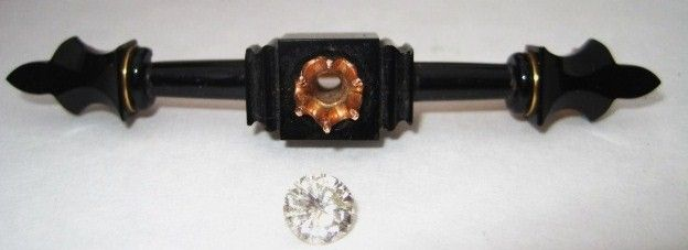 Antique Diamond and Jet Mourning Brooch