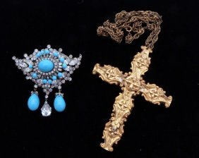 Costume Jewelry Pin, And Cross On Chain