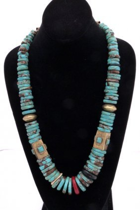 Impressive Turquoise And Brass Necklace