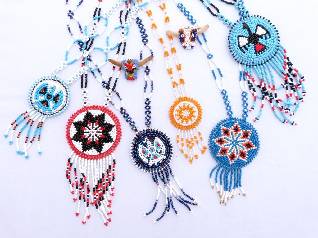 51: Native American Beaded Necklaces & 2 Pins