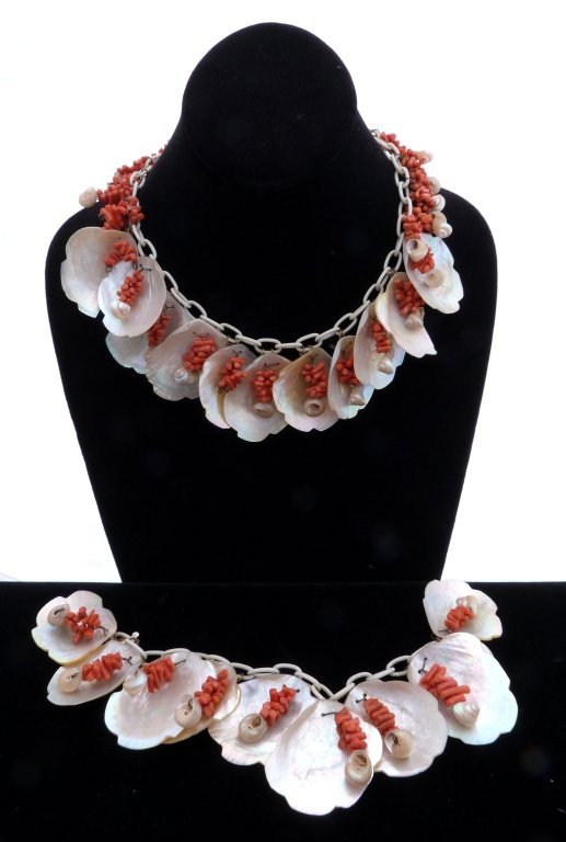 55:  Coral and Shell Necklace and Bracelet