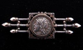 Antique Silver Pin, Mounted Roman Coin