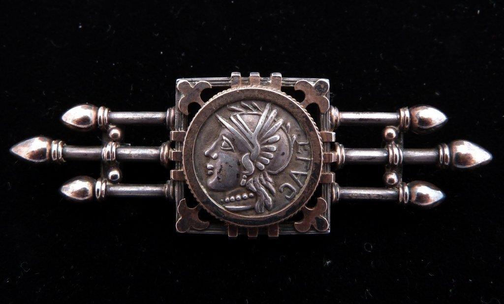 56: Antique Silver Pin, Mounted Roman Coin