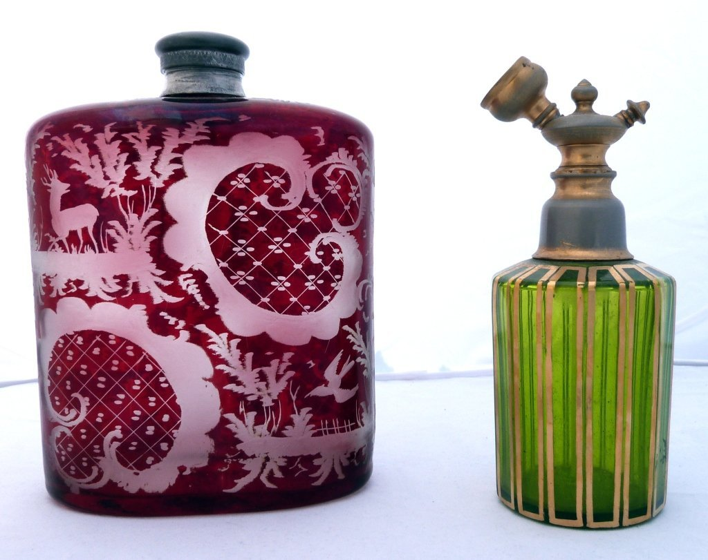 62: Two Colored Glass Perfume Bottles