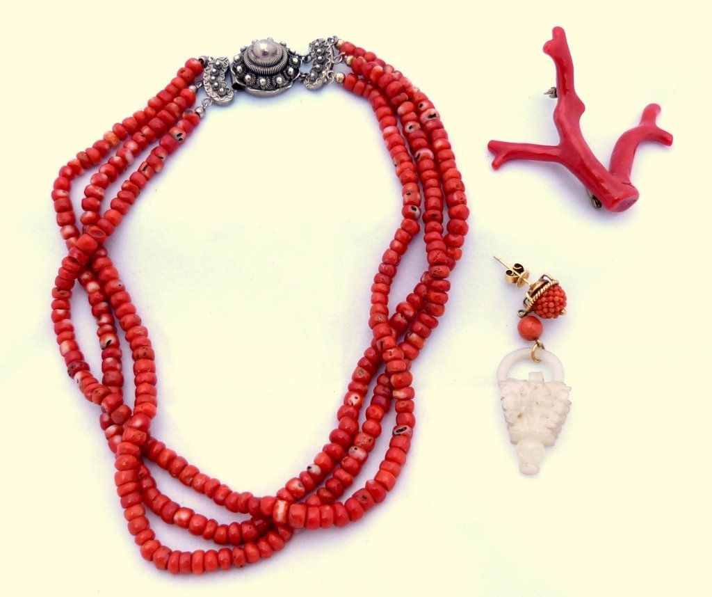 66: Coral Necklace, Pin, and Jade  Earring